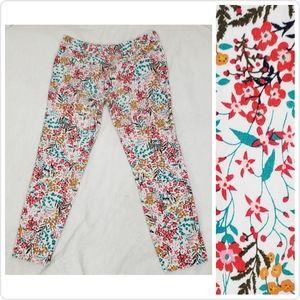 NY&C Stretch Floral Skinny Pants Size 4